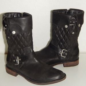 UGG Conor black leather quilt moto boots 40.5 9.5